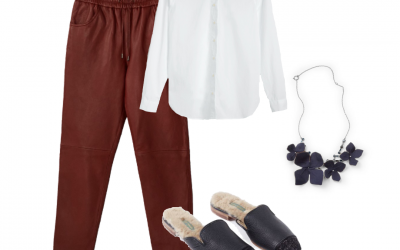 Shopping inspiration – Red leather jogging fit pants