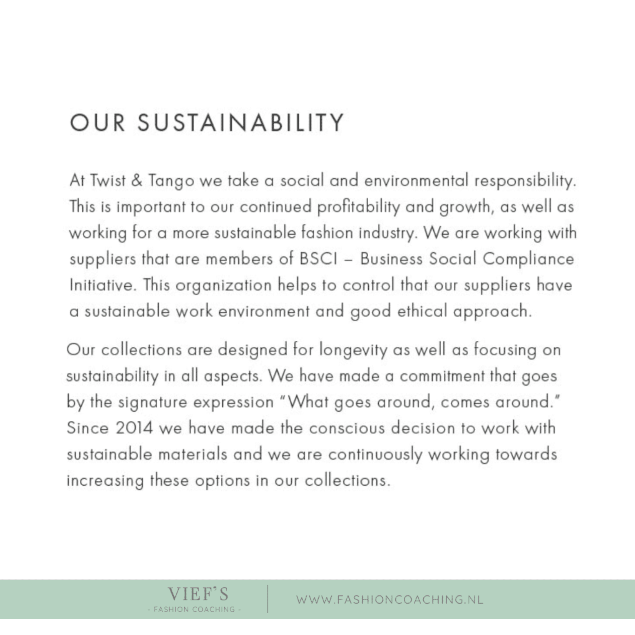 New Sustainable Label – T&T part 2